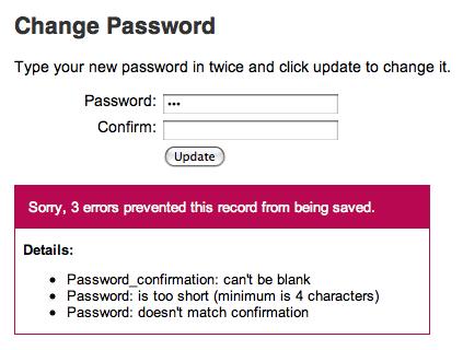Error when updating password