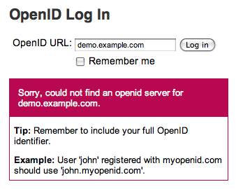 OpenID login error